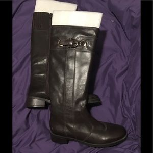Brown Leather gold buckle riding boots